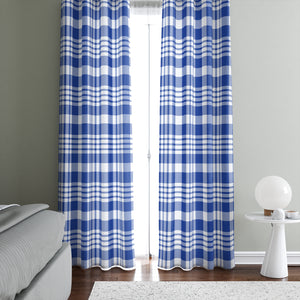 Classic Country Blue Plaid Window Curtains