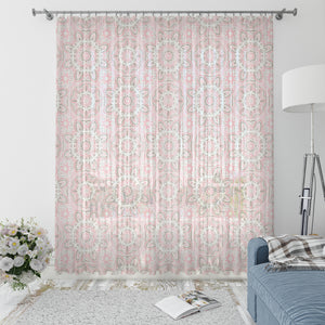 Soft Pink Mandala Boho Window Curtains