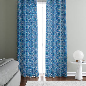 Teal Blue Mandala Boho Window Curtains