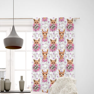 Pink Woodland Animals Window Curtains