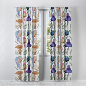Woodland Mushrooms Mystical Window Curtains