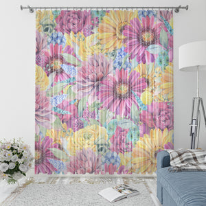 Boho Floral Window Curtains Hippie Gardens