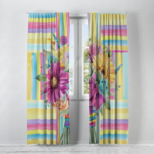 Boho Floral Window Curtains Hippie Bouquet