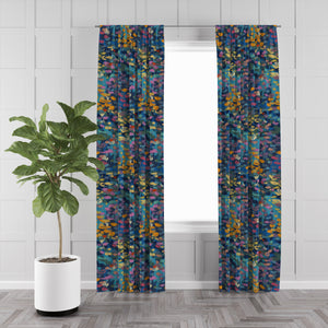Blue Boho Abstract Window Curtains
