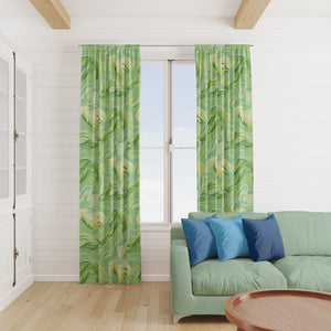 Green Waves Modern Window Curtains