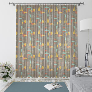 Mid Century Modern Atomic Abstract  Window Curtains