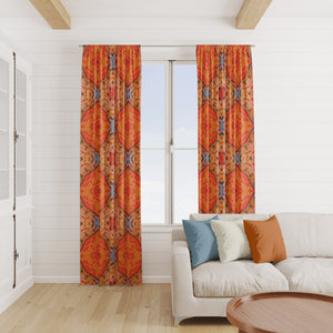 Orange Boho Batik Window Curtains