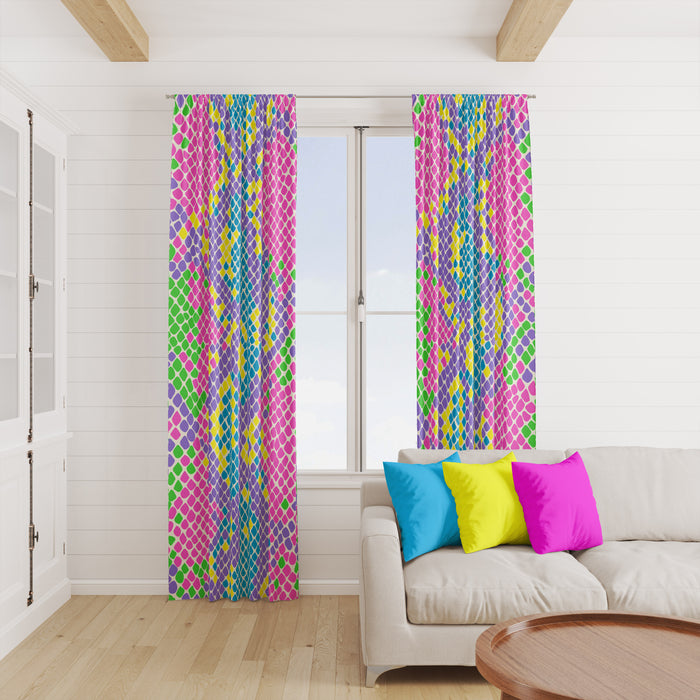 Neon Snakeskin Window Curtains
