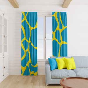 Turquoise Giraffe Window Curtains