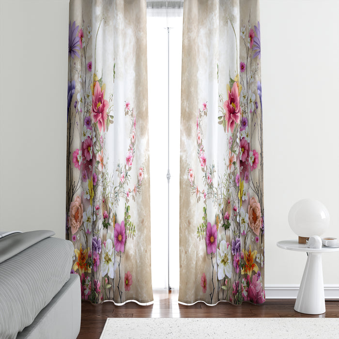 Serene Garden Floral Window Curtains