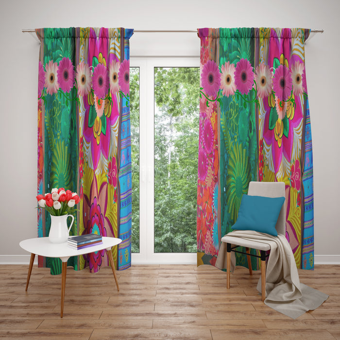 Maximalist Hippie Soul Window Curtains Multiple Variations Custom Curtain Panels