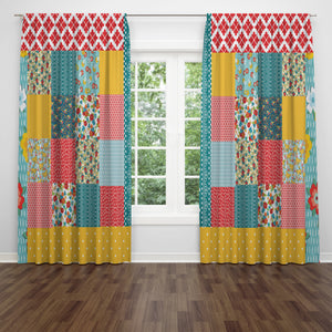 Boho Peasant Patchwork Window Curtains Multiple Options