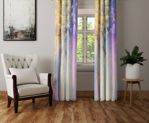 Lavender Nights Boho Chic Sheer and Blackout Window Curtains