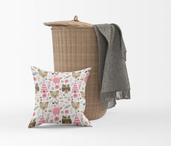 The Woodland Fun Tribal Pattern Throw Pillows