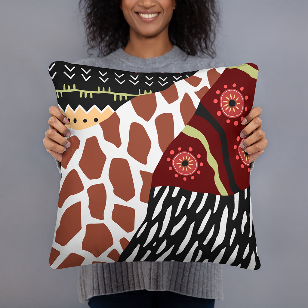 Tribal Collage Pattern Throw Pillow
