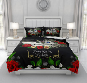"Skull Bedding, Sugar Skulls Duvet Cover Comforter Set, Black Red Rose Floral ""Always Kiss Me Goodnight"" Day Of The Dead Decor"