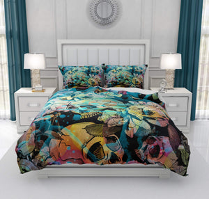 Calavera Gothic Floral Abstract Teal And Yellow Gothic Skull Bedding