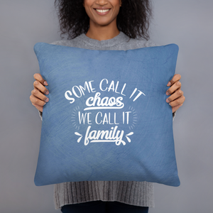 Blue Family Chaos Throw Pillow