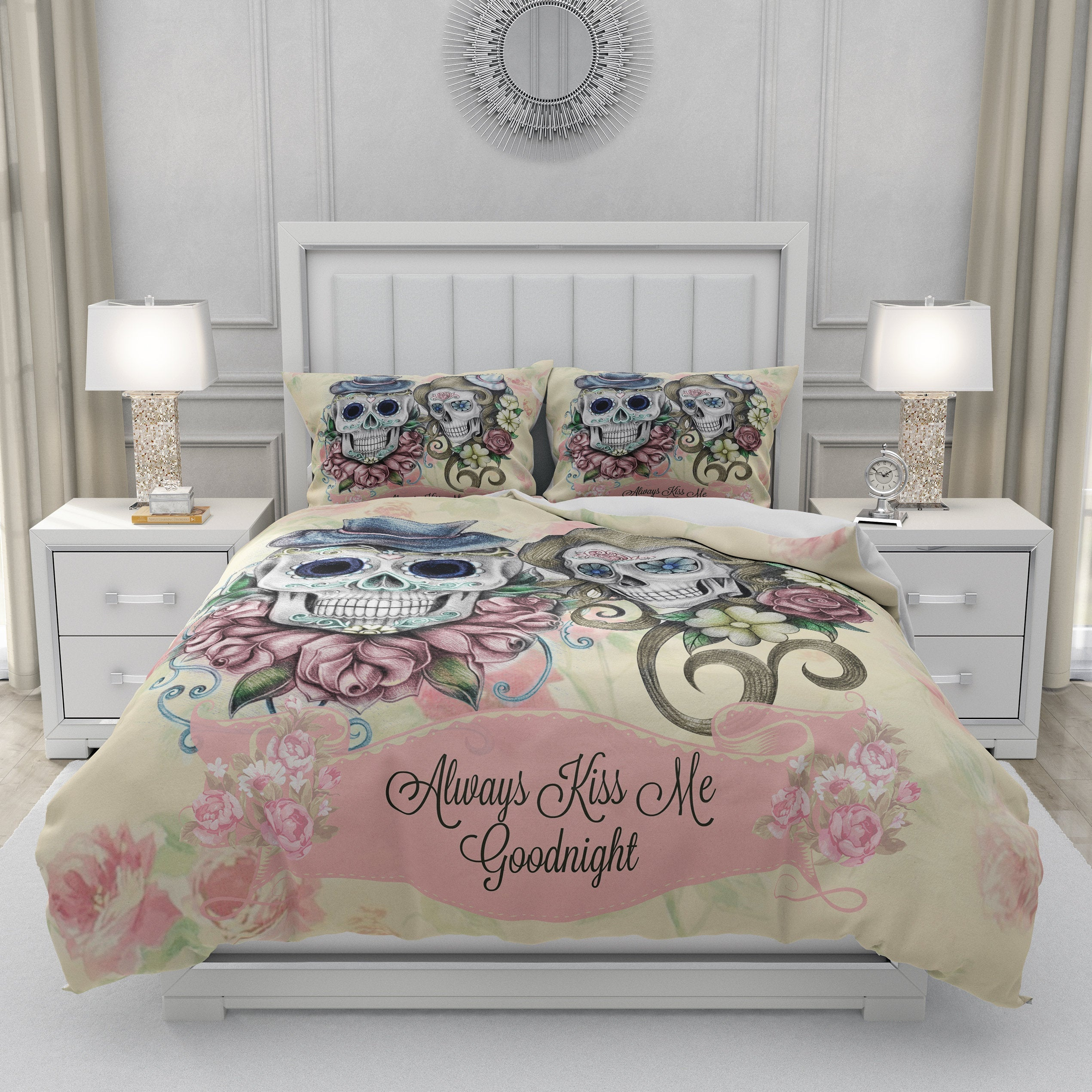 Pink Floral Always Kiss Me Goodnight Forevermore Skulls Bedding