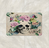 The Floral Butterfly Vintage Gothic Skull Bath Mat