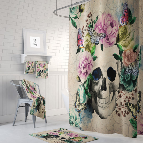 The Floral Butterfly Vintage Gothic Skull Shower Curtain
