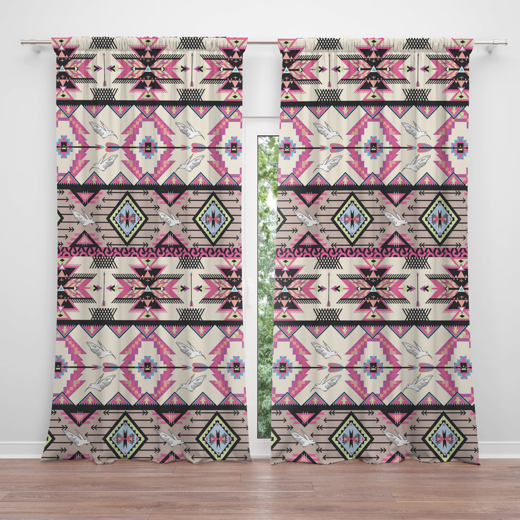 Pink Boho Southwest Window Curtains