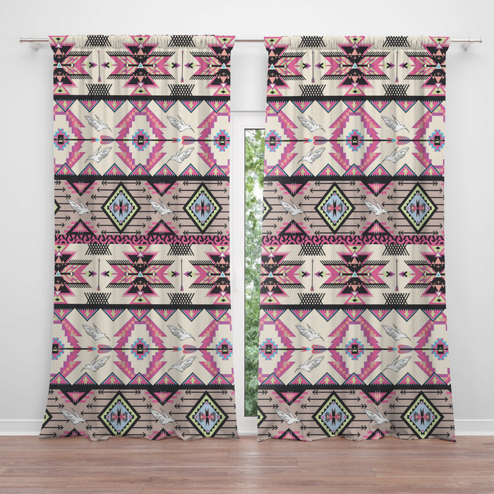 Pink Boho Southwest Sheer and Blackout Window Curtains