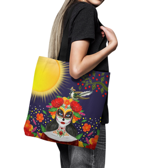 "Sugar Skull Canvas Tote Bag 18"" Frida Khalo Oversized Shopping Bag"