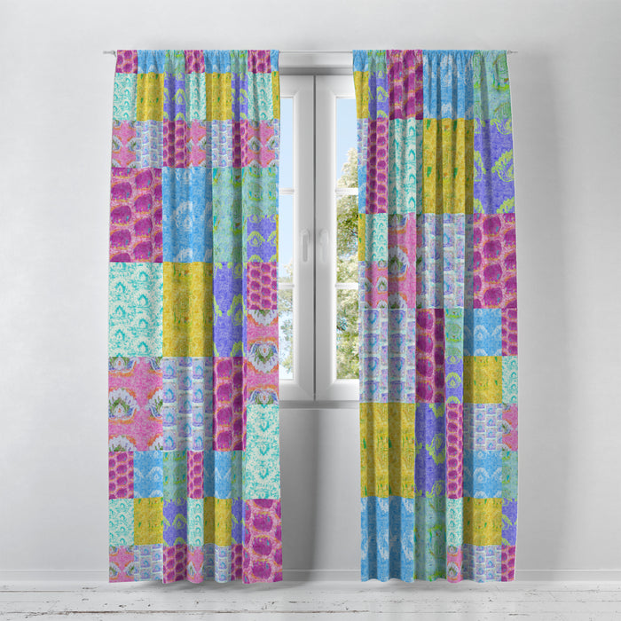 Batik Boho Blocks Window Curtains