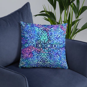 Blue Boho Maximalist Throw Pillow