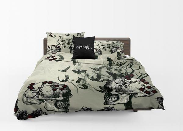 Bats and Roses Gothic Skulls Skeletons Comforter or Duvet Cover Bedroom Set