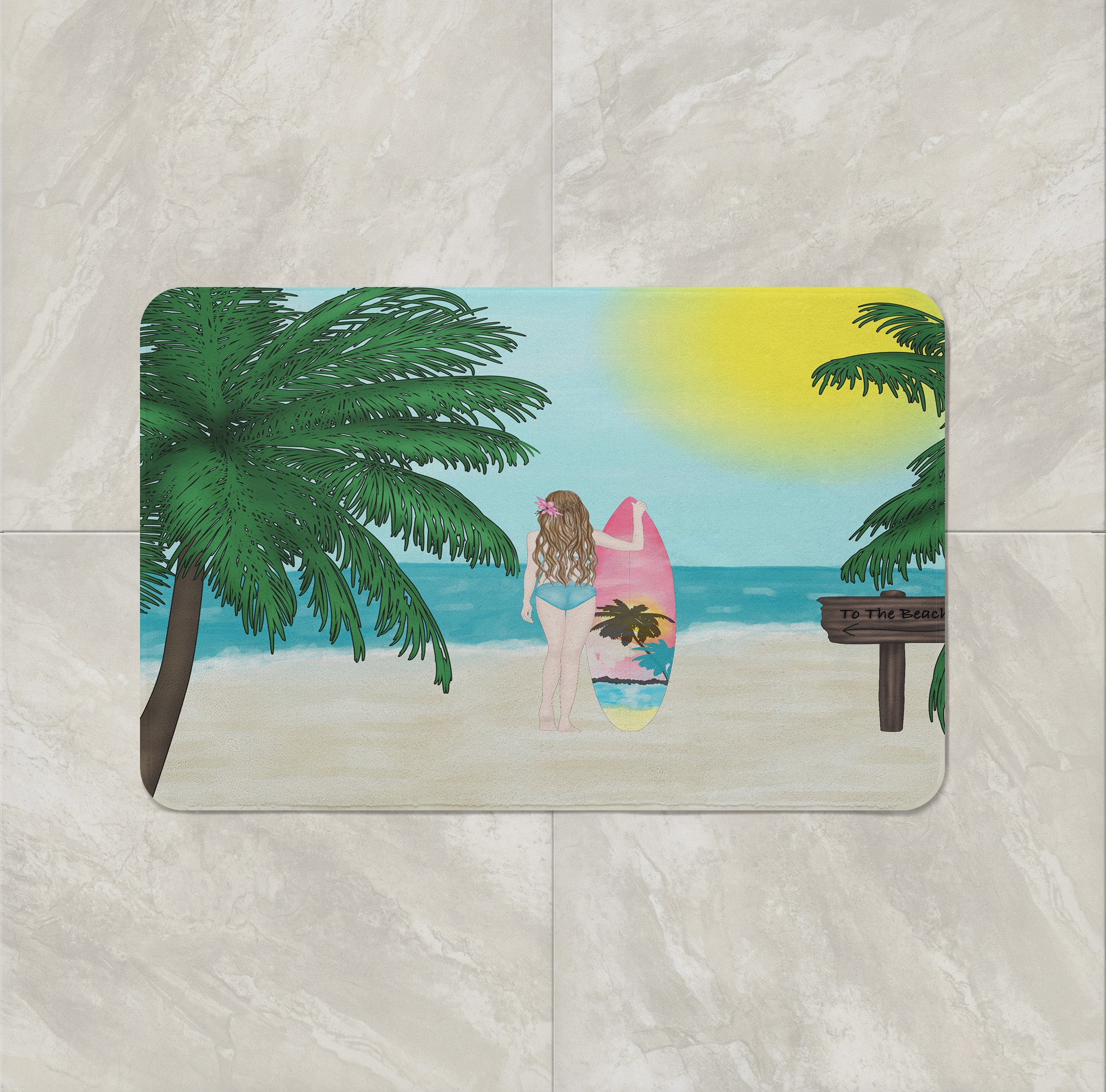 Beach Theme Shower Curtain Surfer Girl