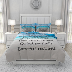 Beach Rules Bedding Set Comforter or Duvet Cover, Twin, Full, Queen, King,