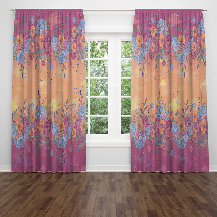 Boho Floral Window Curtains | Pink and Yellow