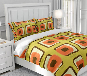 Mid Century Modern Bedding Atomic Poppy