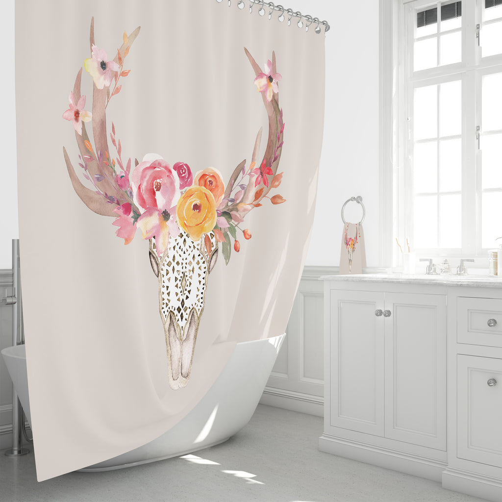 Boho Chic Bull Skull Shower Curtain