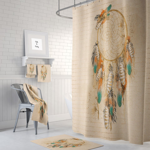 The Boho Chic Beige Dream Catcher Shower Curtain, Bath and Hand Towels
