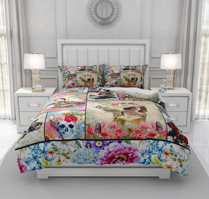 Sugar Skull Collage Bedding