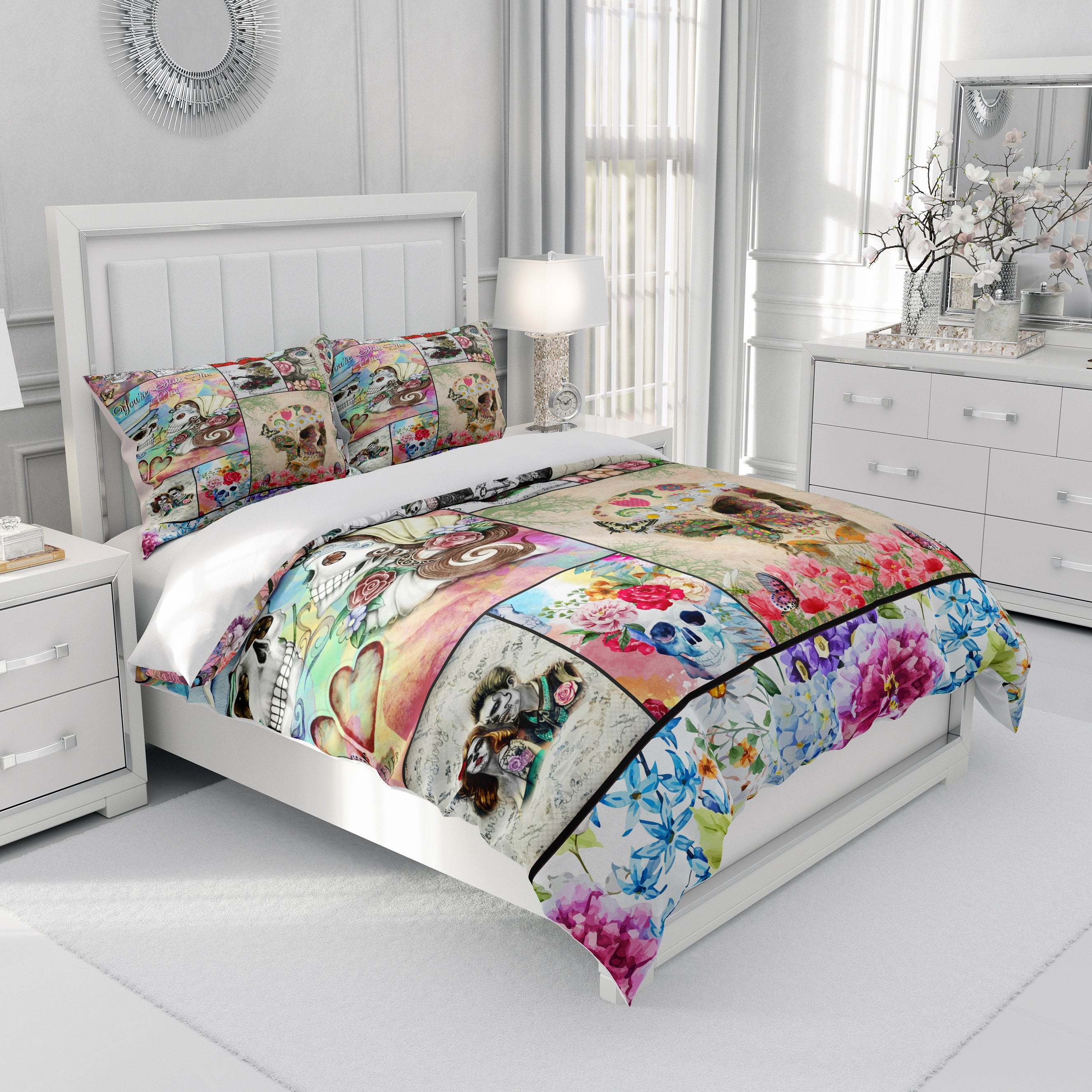 Sugar Skull Collage Comforter