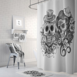 Best Friends Forevermore Sugar Skulls Shower Curtain, Bath Mat & Towels Bathroom Decor