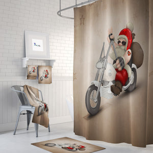 Biker Santa Shower Curtain Christmas Bathroom Decor