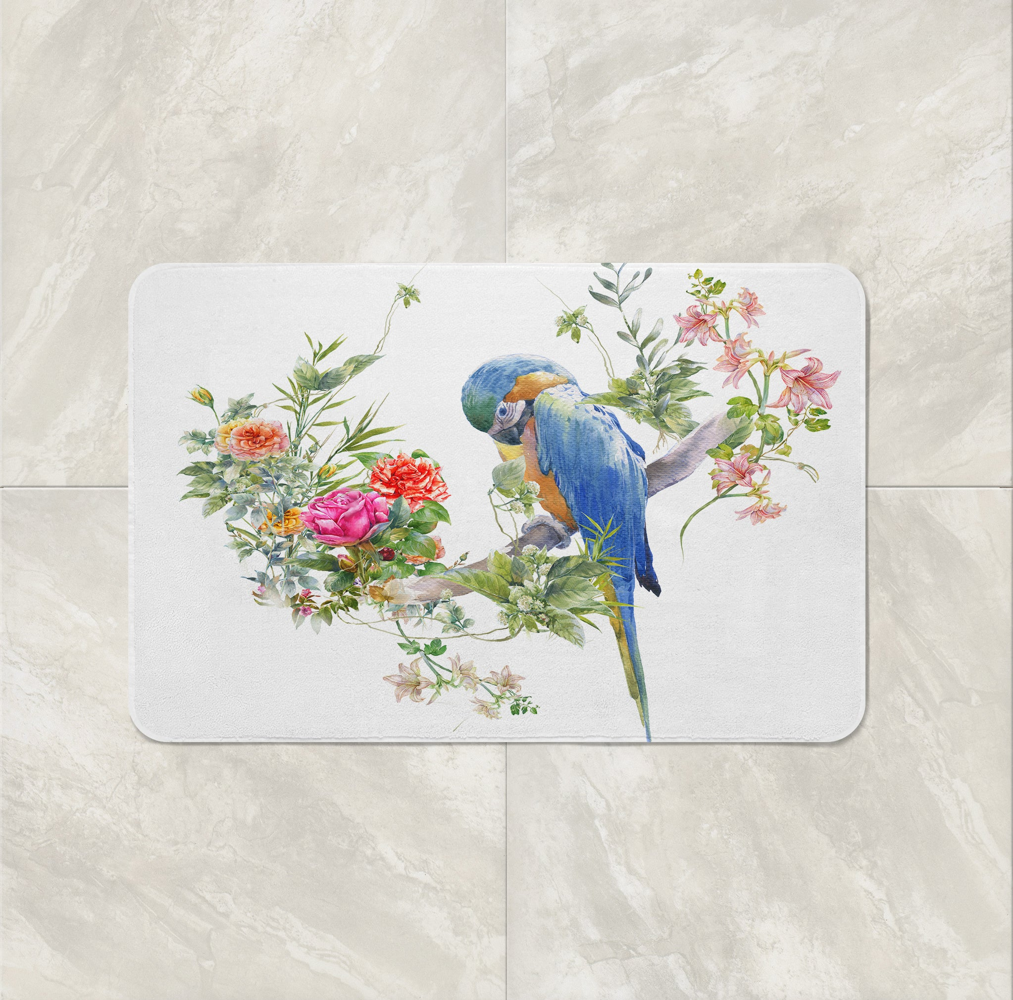 Elegant Tropical Bird Floral Shower Curtain Bathroom Decor