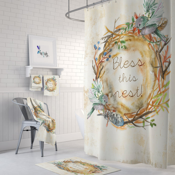 Bless This Nest Birds Farmhouse Shower Curtain Optional Towels and Mat
