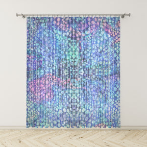 Blue Batik Boho Window Curtains