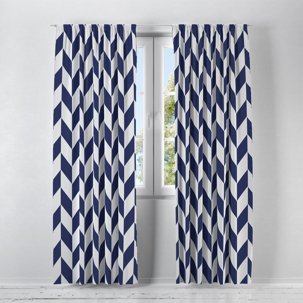 Classic Navy and White Window Treatments, Custom Window Curtains, Window Valance