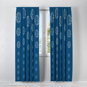 Classic Blue Mod Window Treatments, Custom Window Curtains, Window Valance