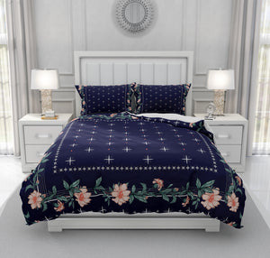 Navy Blue Floral Bedding