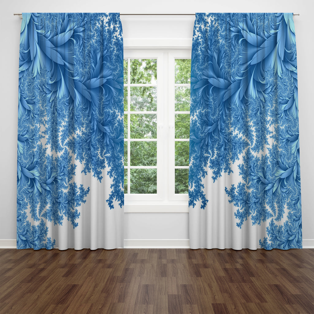 Blue Foliage Window Curtains
