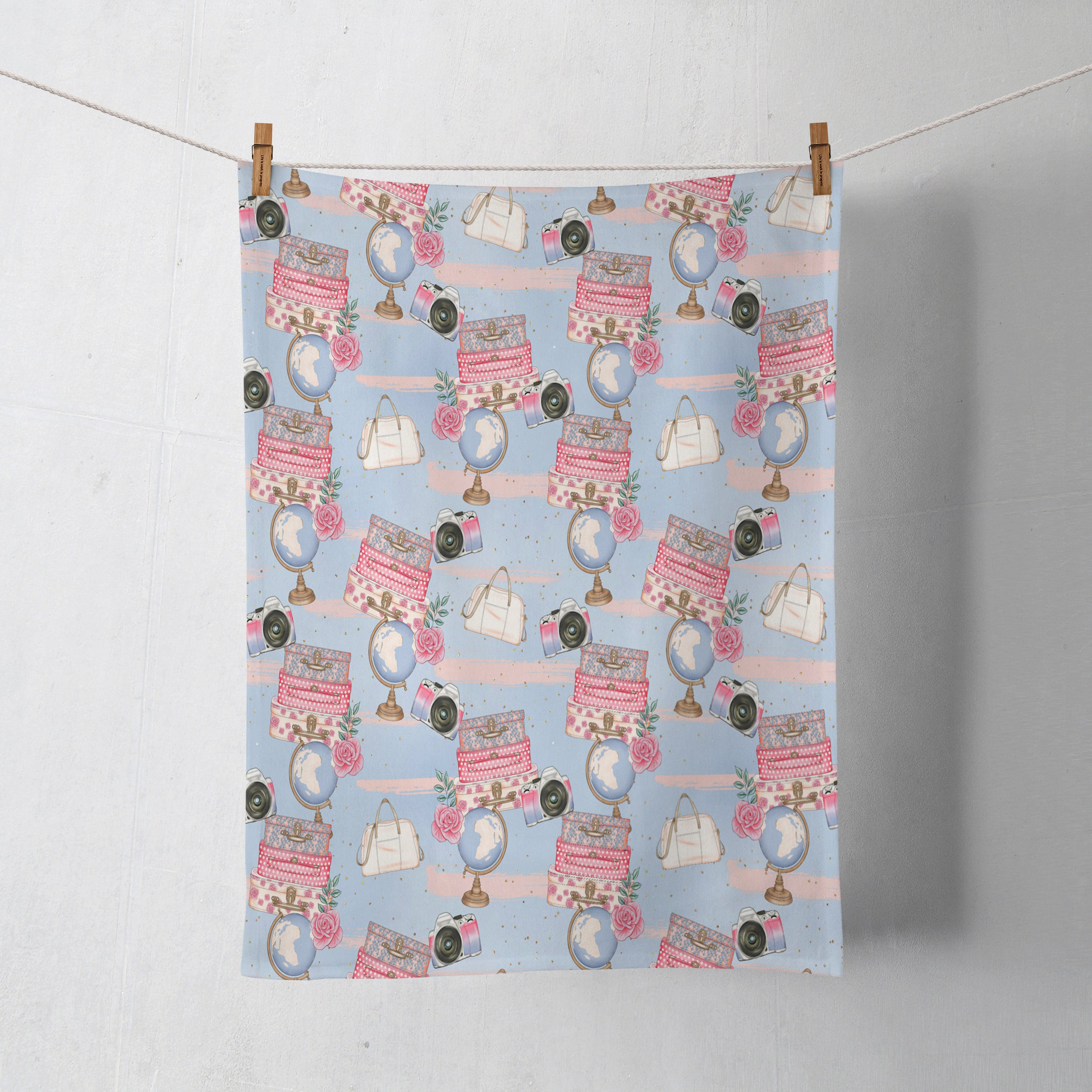 Vintage Travel Theme Shower Curtain Shabby Floral