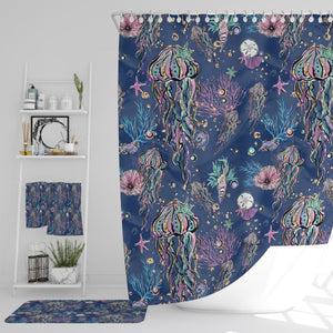 Blue Coastal Sealife Shower Curtain Optional Accessories